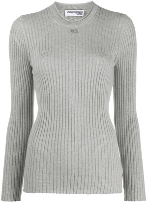 Courreges Logo-Patch Long Sleeved Ribbed Top