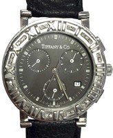 Tiffany & Co. Atlas Stainless Steel / Leather with Black Dial 36mm Mens Watch