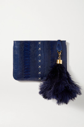 Okapi - Feather-embellished Ostrich Clutch - Navy