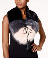 Steve Madden Colorblocked Faux Fur Scarf Collar