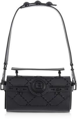 Balmain Black Leather & Suede Bbuzz Baguette 19 Shoulder Bag