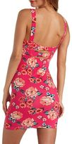 Charlotte Russe Bow-Back Floral Print Bodycon Dress