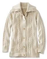 L.L. Bean L.L.Bean Double L Mixed-Cable Sweater, Button-Front Cardigan