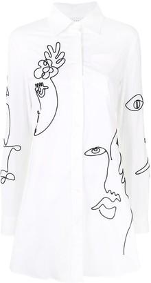 Moschino Cornely embroidered shirt dress