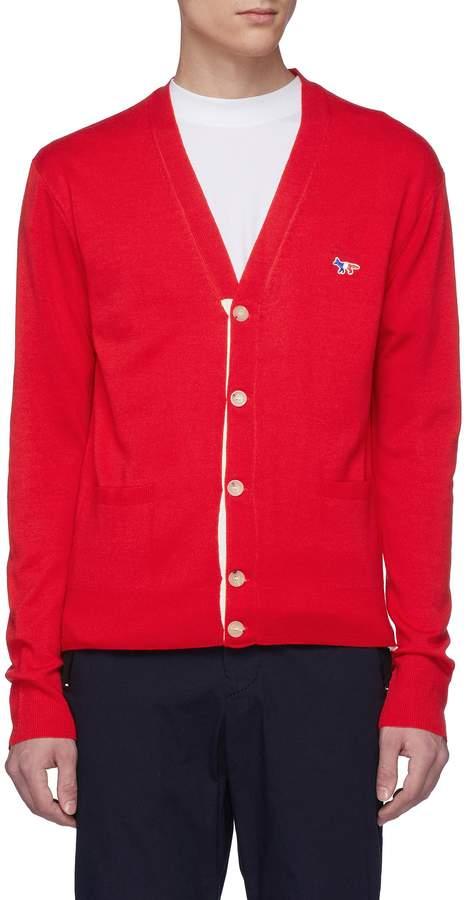 MAISON KITSUNÉ Fox logo appliqué virgin wool cardigan