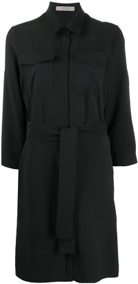 D-Exterior Belted Shirt Dress