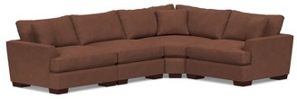 Pottery Barn Sullivan Deep Fin Arm Leather 4-Piece Reversible Wedge Sectional