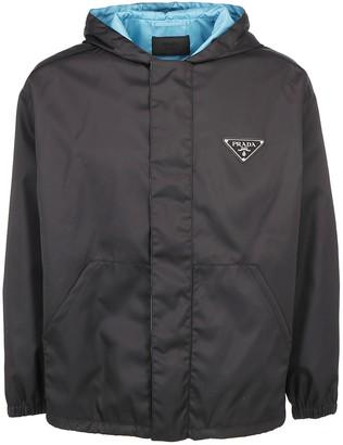 Prada Hooded Logo Plaque Jacket
