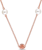 Laura Ashley 7mm White Cultured Pearl Rose-Plated Sterling Silver Rose Necklace