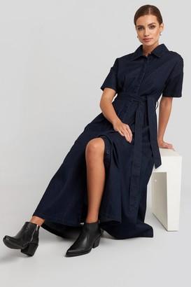 NA-KD Short Sleeve Denim Dress Blue