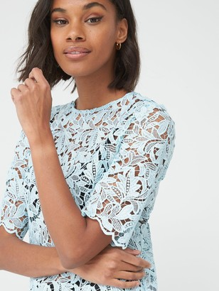 Very Lace Short Sleeve Shell Top - Blue