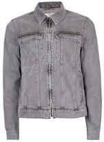 Topman Gray Zip Through Denim Jacket