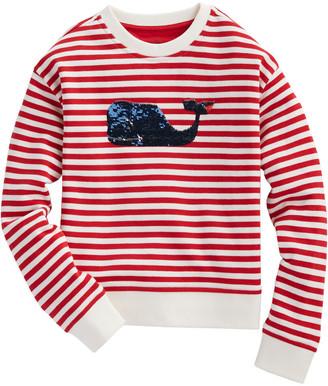 Vineyard Vines Girls Flip Sequin Stripe Sweatshirt