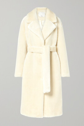 Tibi Oversized Belted Faux Fur Coat - Cream