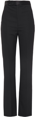 Haider Ackermann Silk Satin-trimmed Grain De Poudre Wool Straight-leg Pants