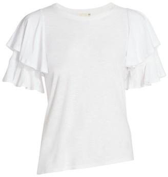 Nation Ltd. Etta Slim-Fit Tier Ruffle-Sleeve T-Shirt