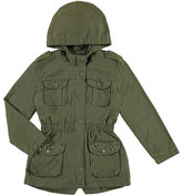Mayoral Hooded Cotton Twill Safari Jacket, Olive, Size 8-16