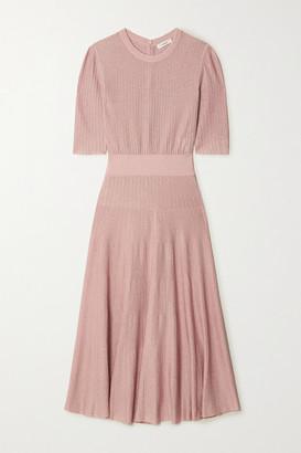 CASASOLA Metallic Ribbed-knit Midi Dress - Blush