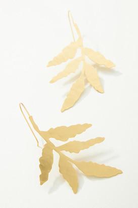Anthropologie Falling Leaf Drop Earrings By in Gold
