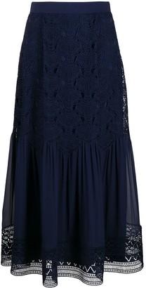 Alberta Ferretti Crochet-Embroidered Midi Skirt