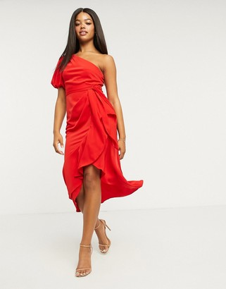 Lipsy one-shoulder ruffle wrap midi dress in red