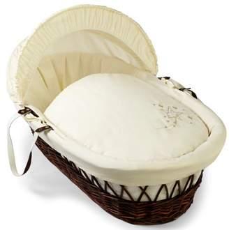 Clair De Lune Starburst Dark Wicker Moses Basket inc. bedding, mattress & adjustable hood (Cream)