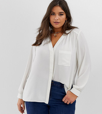 ASOS DESIGN Curve long sleeve blouse with pocket detail