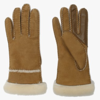 UGG Womens Chestnut Sheepskin Seamed Tech Gloves