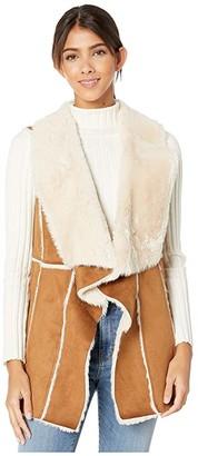 Cupcakes And Cashmere Tash Faux Suede and Fur Drape Front Vest (Butterscotch) Women's Vest