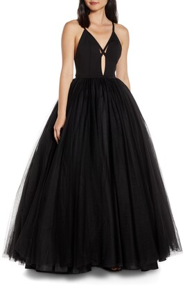 Mac Duggal Cutout V-Neck Tulle Prom Dress