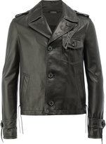 Lanvin buttoned leather jacket - men - Cotton/Lamb Skin/Viscose - 48