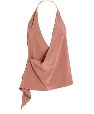 Cushnie Draped Silk Halter Blouse