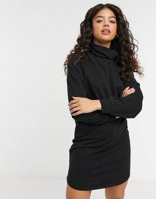JDY roll neck sweat mini dress in black