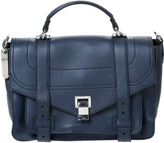 Proenza Schouler Navy Blue Leather Large PS1 Top Handle Bag