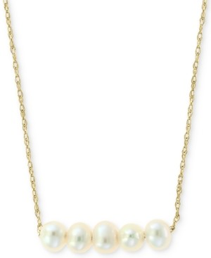 """Effy Cultured Freshwater Pearl (3-1/2mm) Collar Necklace in 14k Gold, 16"""" + 2"""" extender"""