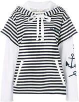 Natasha Zinko shortsleeved striped hoodie