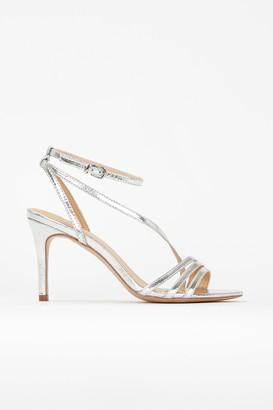 Wallis **Silver Asymmetric Strap Sandal
