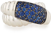 John Hardy Bedeg Silver Lava Crossover Ring w/ Sapphires, Size 7