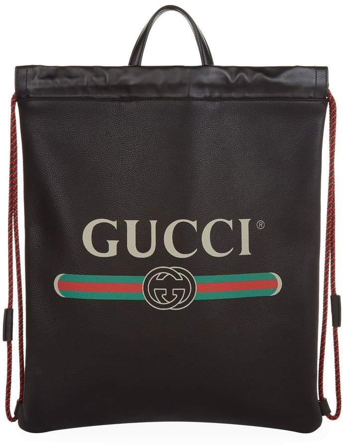 Gucci Leather Zaino Drawstring Backpack