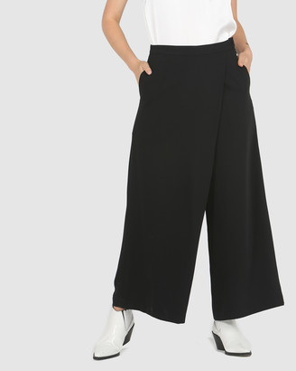 Faye Black Label - Women's Black Cropped Pants - Fold Over Ankle Culottes - Size One Size, 8 at The Iconic