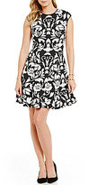 Vince Camuto Floral Scroll Fit-and-Flare Cap Sleeve Dress