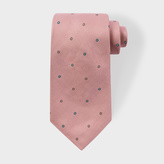 Paul Smith Men's Pink 'Polka-Floral' Motif Silk Tie
