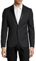 The Kooples Leather Trimmed Striped Buttoned Blazer