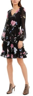 INC International Concepts Inc Floral-Print Clip-Dot Chiffon Dress, Created for Macy's