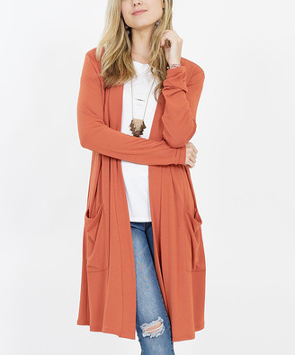 42pops 42POPS Women's Open Cardigans PNK-terracotta - Terracotta Long-Sleeve Two-Pocket Open Cardigan - Women