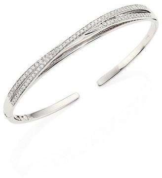 Hueb Wave Diamond & 18K White Gold Open Bangle Bracelet