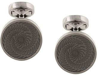 Tateossian Gun-Metal Spiral Motif Cufflinks