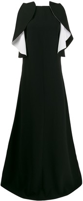 Givenchy Contrast Ruffle Evening Dress