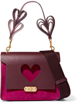 Anya Hindmarch Bathurst Small Leather And Suede Shoulder Bag - Fuchsia