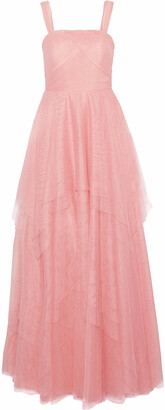 Mikael Aghal Layered Pleated Tulle Gown